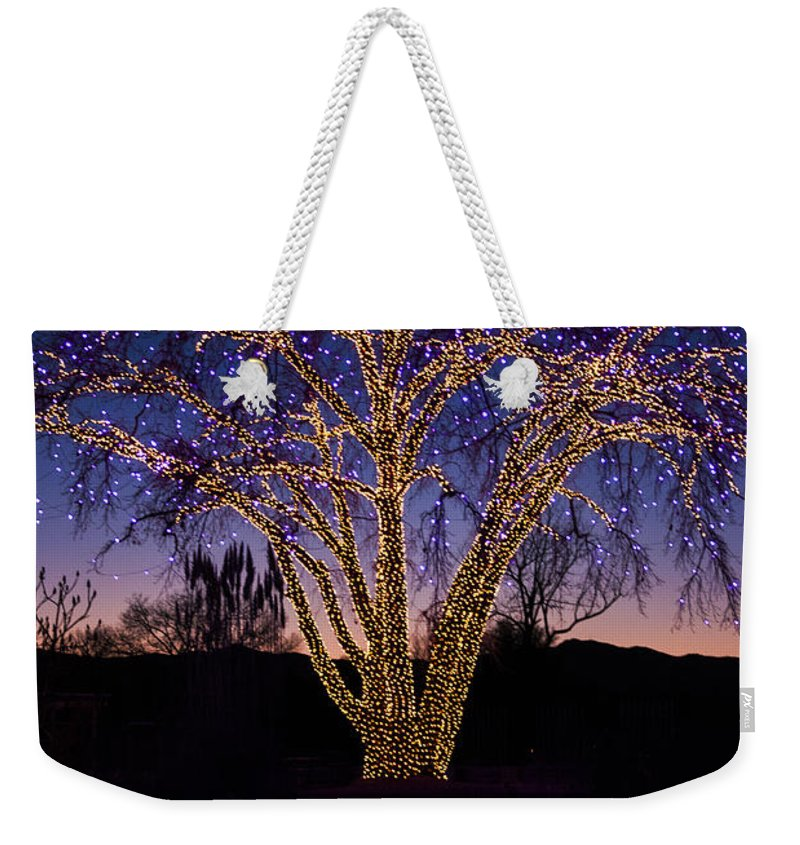 Celebrate Weekender Tote Bag featuring the photograph Holiday Lights by Juli Scalzi