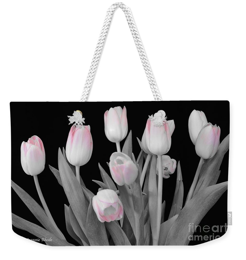 Holland Tulips In Black And White With Pink Weekender Tote Bag featuring the photograph Holland Tulips In Black And White With Pink by Jeannie Rhode