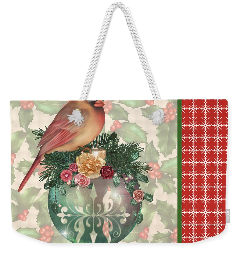 Digital Art Weekender Tote Bag featuring the digital art Holly And Berries-a by Jean Plout