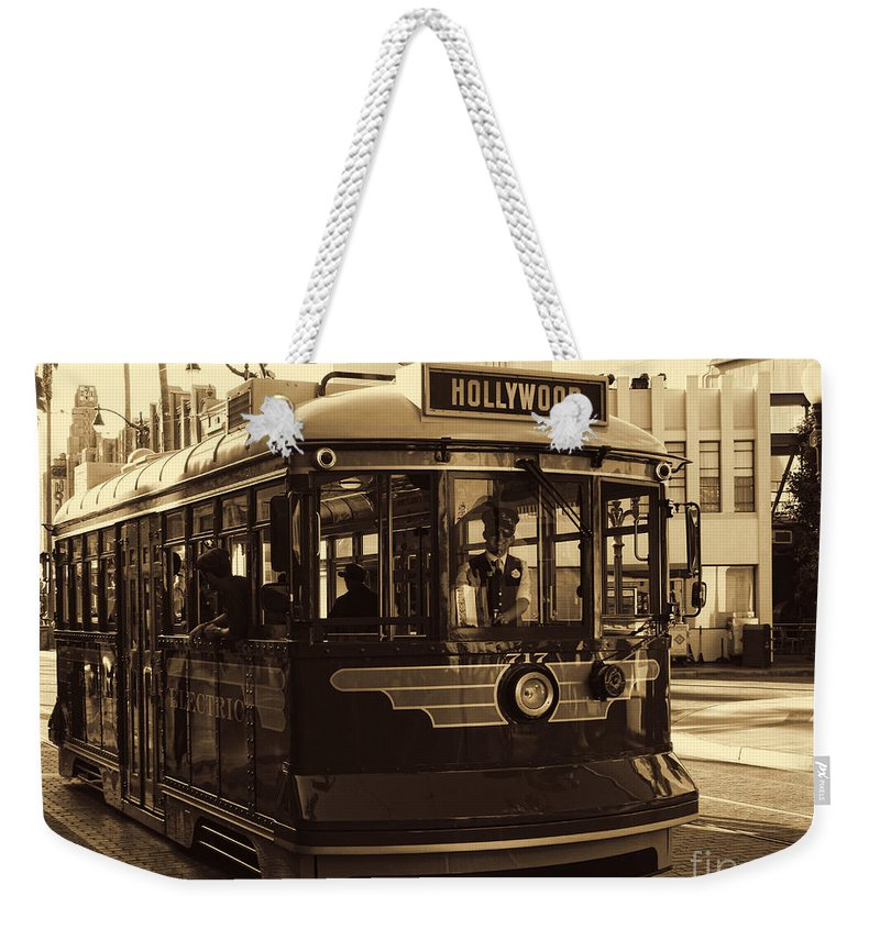 Buena Vista Street Weekender Tote Bag featuring the photograph Hollywood Trolley by Tommy Anderson
