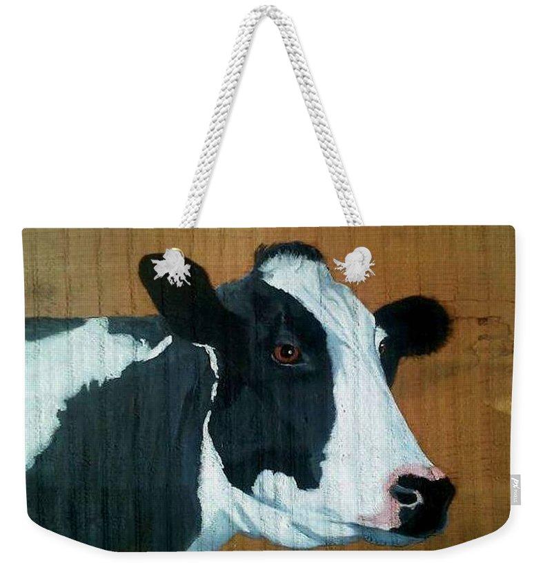 Holstein Weekender Tote Bag featuring the painting Holstein by Debbie LaFrance