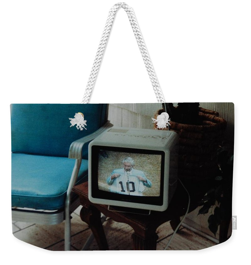 New York Yankees Weekender Tote Bag featuring the photograph Holy Cow Phil Rizzuto Retired Yankee Number On 08 04 1985 by Rob Hans