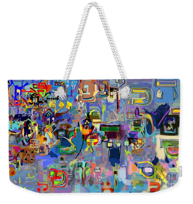 Torah Weekender Tote Bag featuring the digital art Holy Letters 1x by David Baruch Wolk