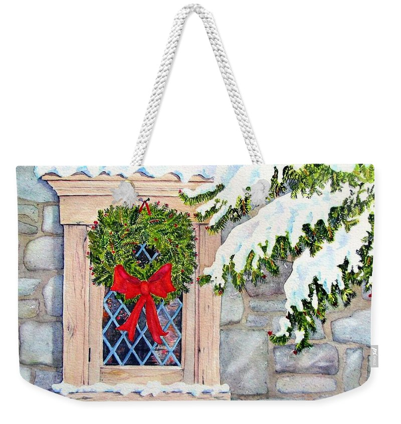 Holidays Weekender Tote Bag featuring the painting Home For The Holidays by Mary Ellen Mueller Legault