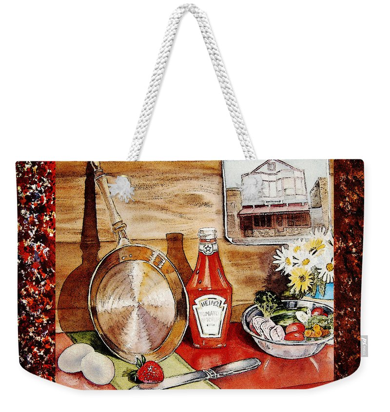 Home Weekender Tote Bag featuring the painting Home Sweet Home Welcoming Five by Irina Sztukowski