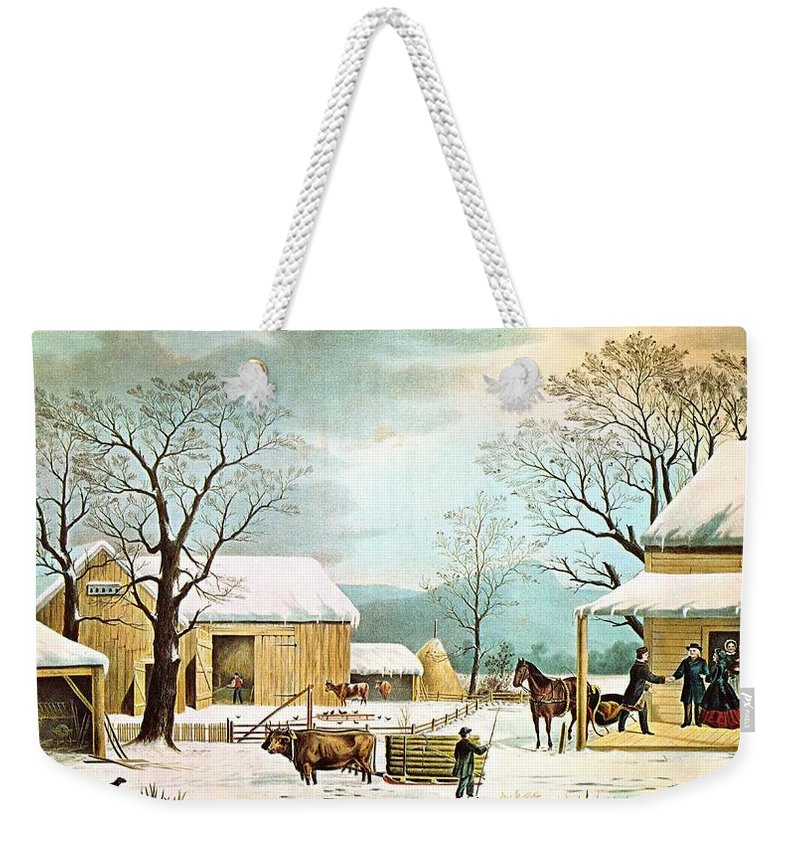 Currier And Ives Weekender Tote Bag featuring the digital art Home To Thanksgiving by Currier and Ives