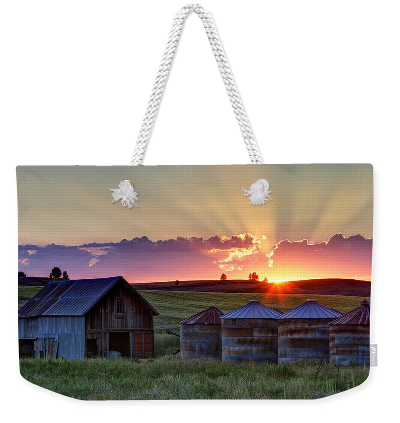 Cheney Weekender Tote Bag featuring the photograph Home Town Sunset by Mark Kiver