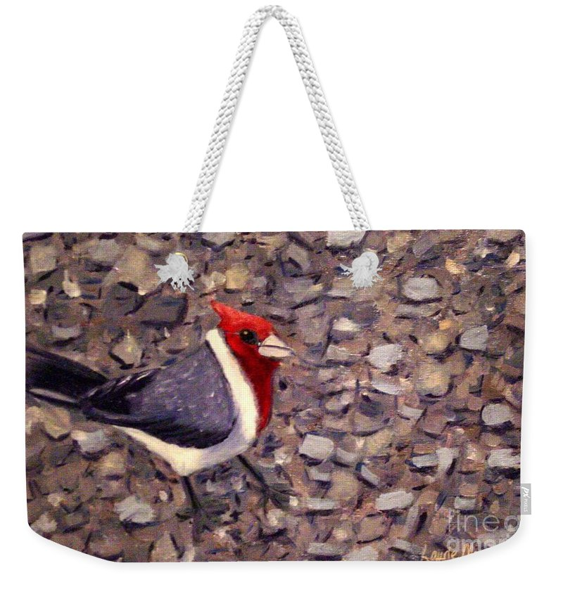 Bird Weekender Tote Bag featuring the painting Home Turf by Laurie Morgan