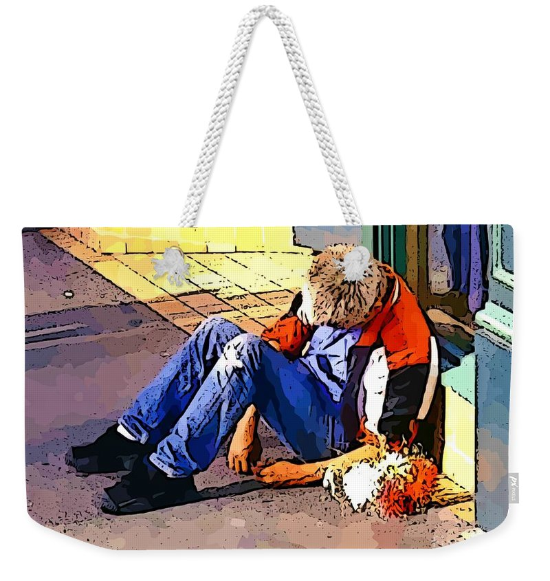 Homeless In Seattle Weekender Tote Bag featuring the photograph Homeless In Seattle by John Malone