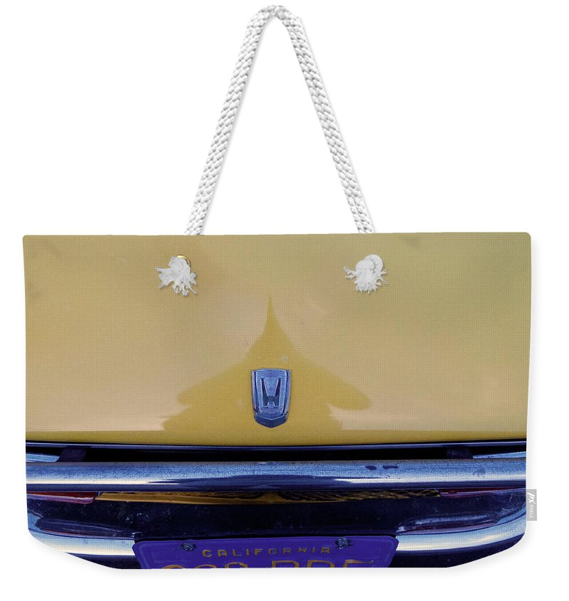 Popular Weekender Tote Bag featuring the photograph Honda Z600 Hood Medallion by Paulette B Wright