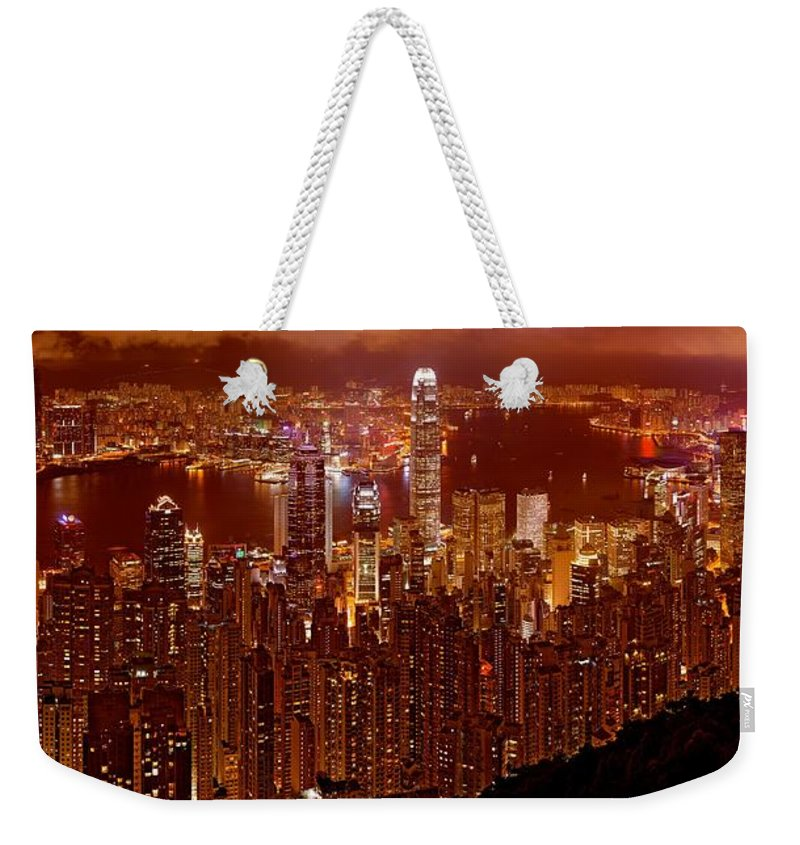 Hong Kong Prints Weekender Tote Bag featuring the photograph Hong Kong In Golden Brown by Monique's Fine Art
