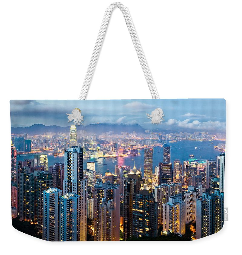 Hong Kong Weekender Tote Bag featuring the photograph Hong Kong At Dusk by Dave Bowman