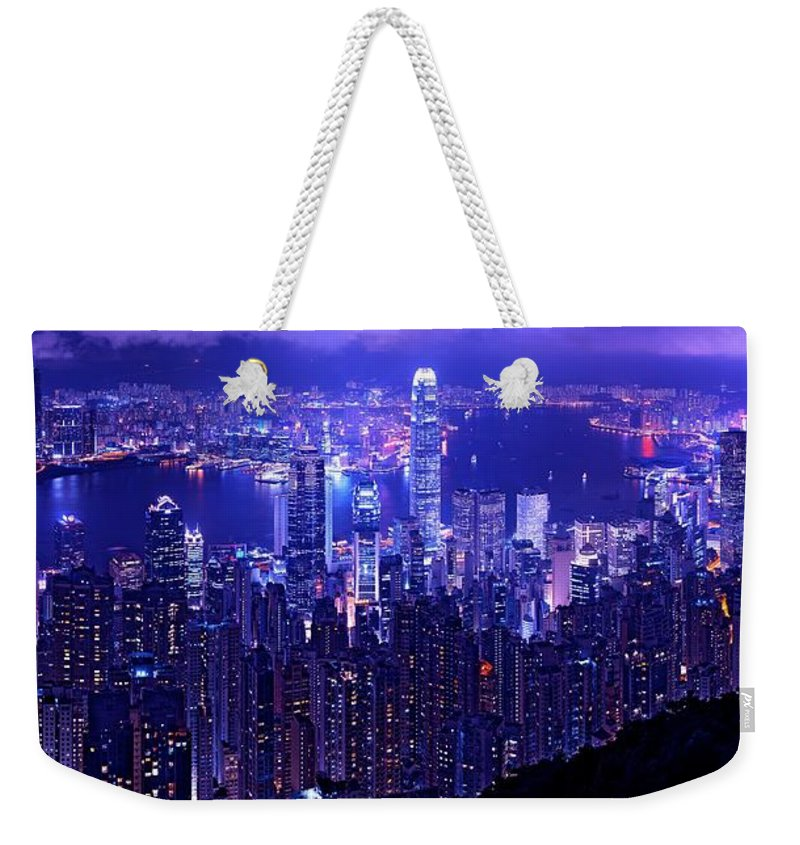 Hong Kong Prints Weekender Tote Bag featuring the photograph Hong Kong In Purple by Monique's Fine Art
