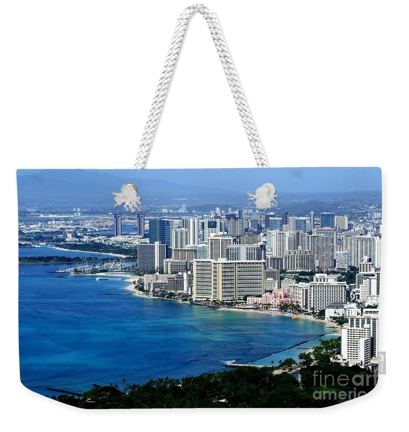 Honolulu Weekender Tote Bag featuring the photograph Honolulu And Waikiki From Diamond Head by Mary Deal
