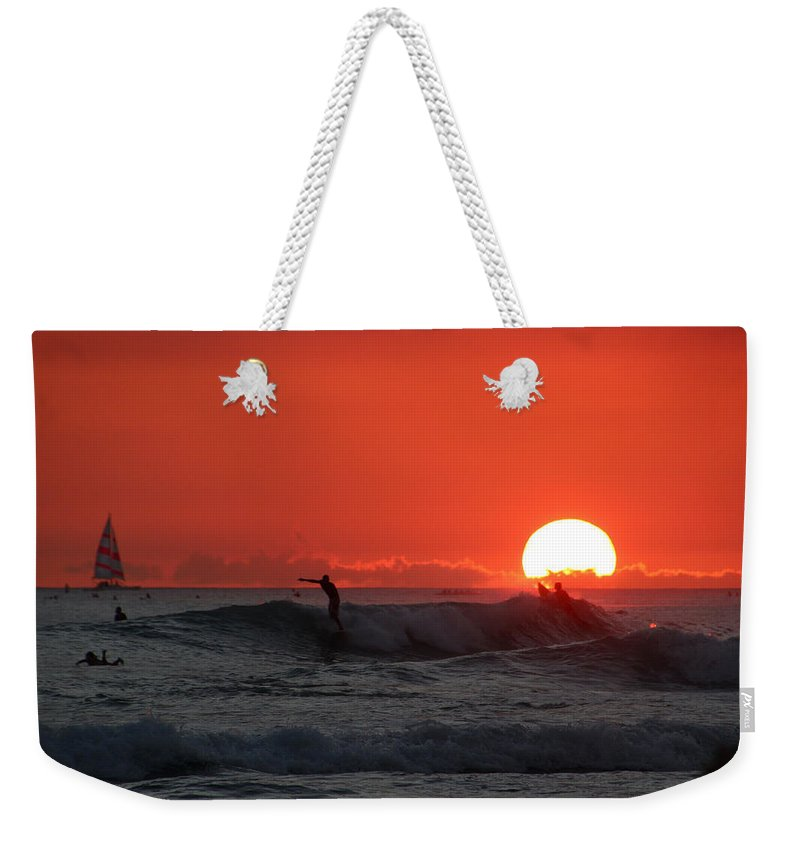 Sunset Weekender Tote Bag featuring the photograph Honolulu At Sundown by Linda Romine
