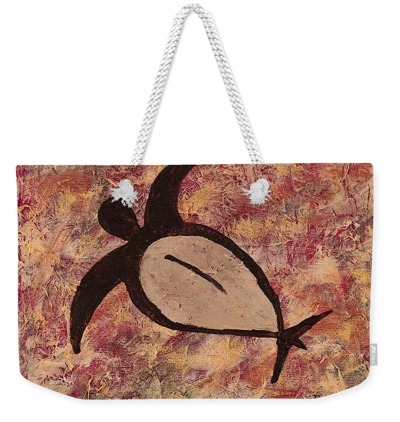 Sea Turtle Weekender Tote Bag featuring the painting Honu by Darice Machel McGuire