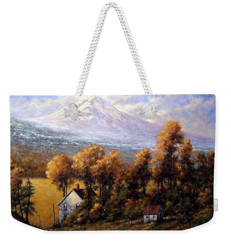 Oregon Scenary Weekender Tote Bag featuring the painting Hood at Late Afternoon by Jim Gola