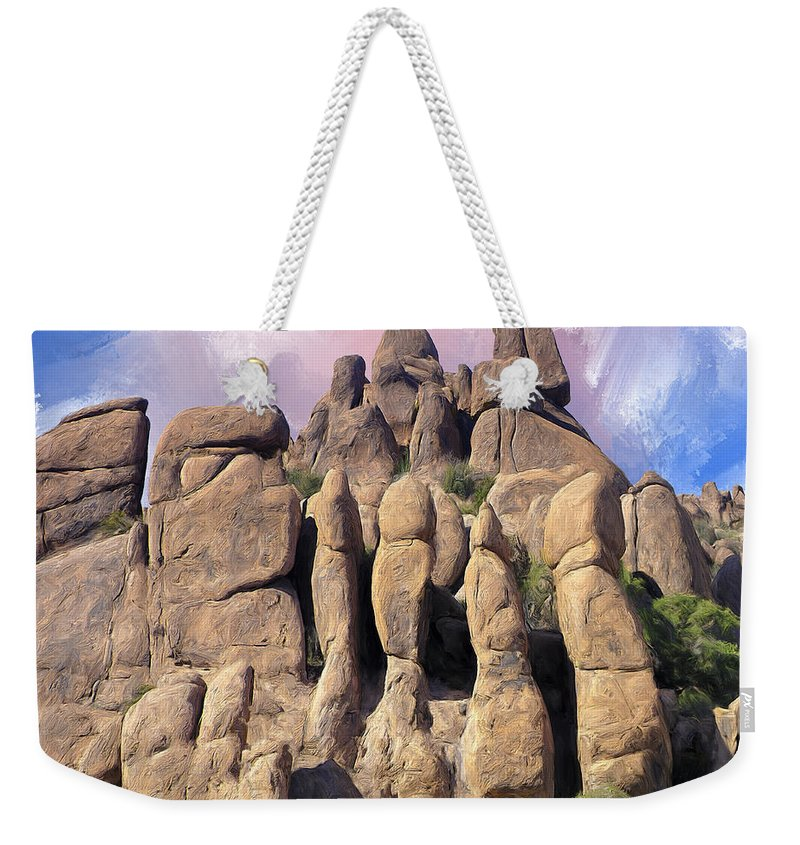Hoodoo Weekender Tote Bag featuring the painting Hoodoo In The Superstition Mountains by Dominic Piperata