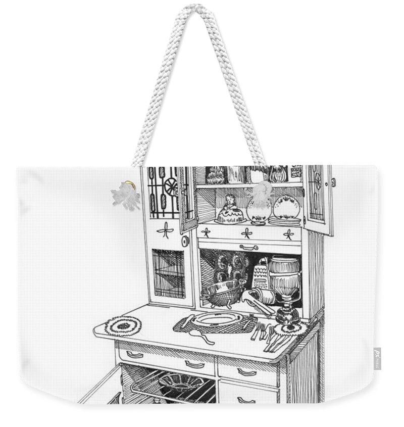 A Hoosier Cabinet (also Known As A hoosier) Is A Type Of Cupboard Popular In 1910- 1930s Weekender Tote Bag featuring the drawing Hoosier Kitchen by Jack Pumphrey