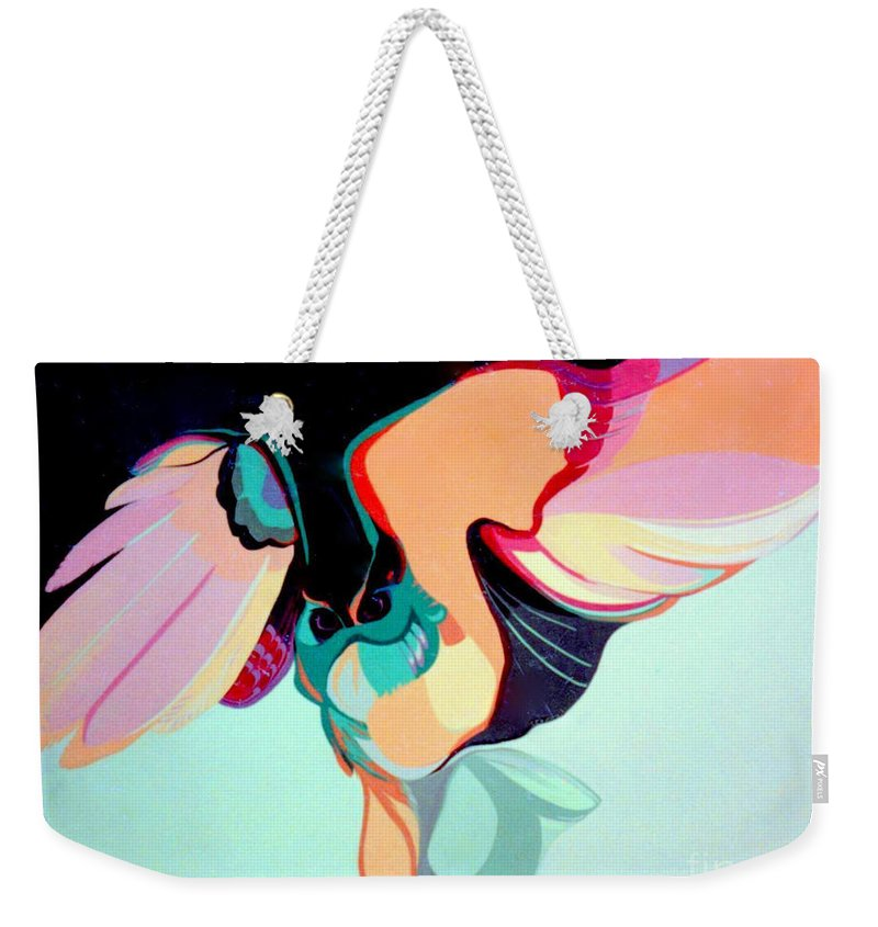 Bird Weekender Tote Bag featuring the painting Hooters by Marlene Burns