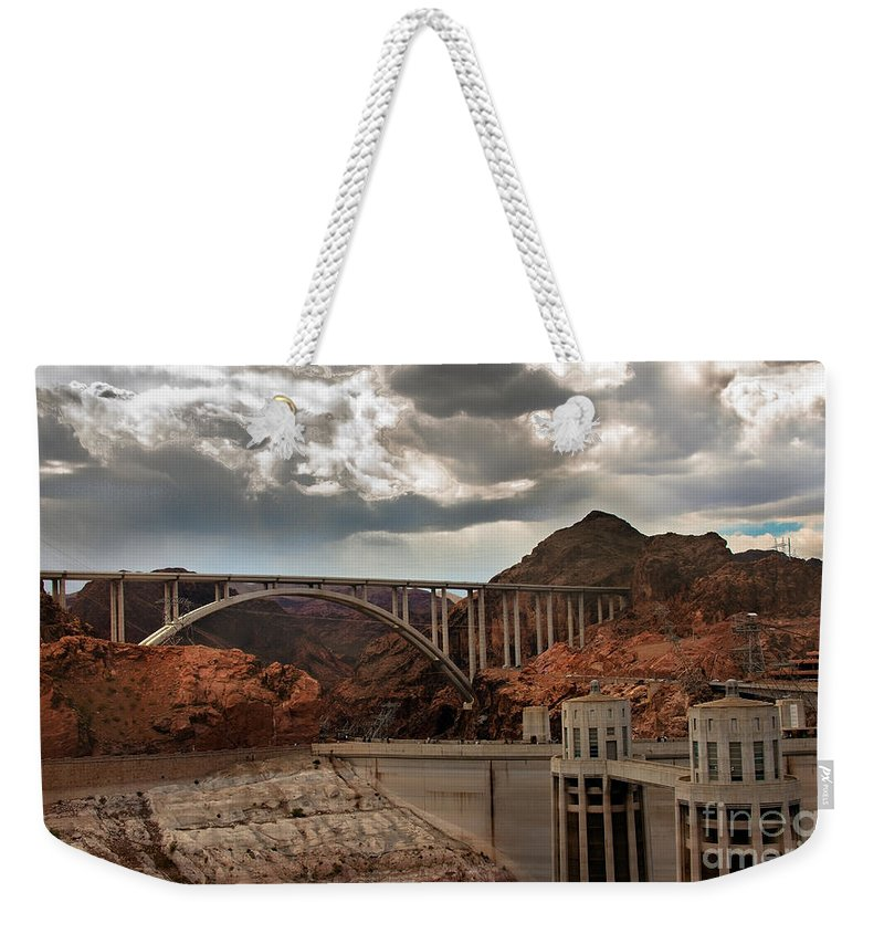 The Mike O'callaghan Weekender Tote Bag featuring the photograph Hoover Dam Bridge by Robert Bales