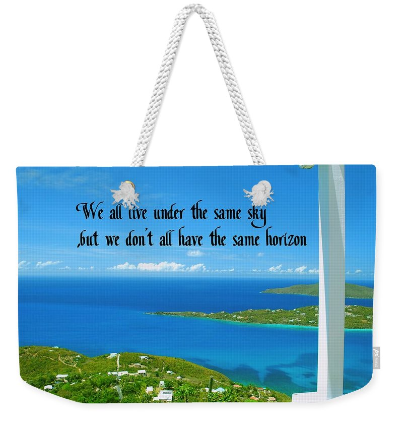 Blue Weekender Tote Bag featuring the photograph Horizons by Gary Wonning