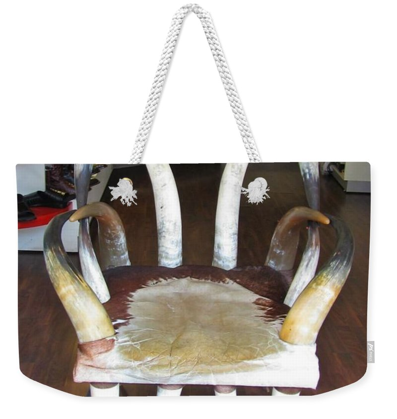 Horny Chair Weekender Tote Bag featuring the photograph Horny Chair by John Malone