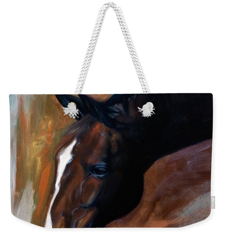 Horse Weekender Tote Bag featuring the painting horse - Apple copper by Go Van Kampen