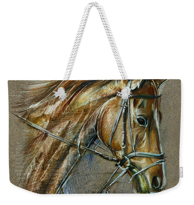 Horse Weekender Tote Bag featuring the drawing My Horse Face Drawing by Daliana Pacuraru