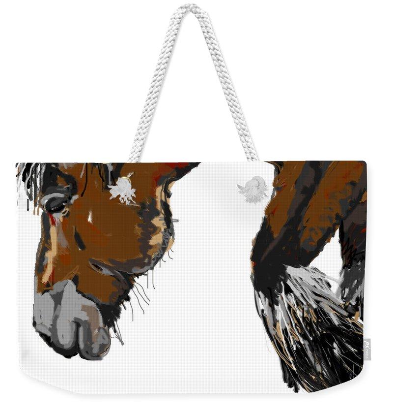 Big Horse Weekender Tote Bag featuring the painting horse - Guus by Go Van Kampen