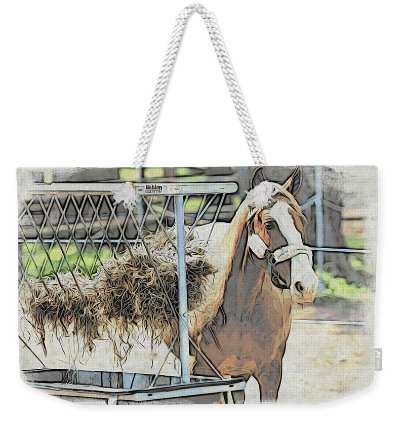 Horse Weekender Tote Bag featuring the photograph Horse N Hay by Alice Gipson