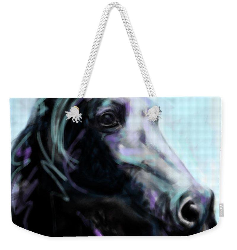Horse Weekender Tote Bag featuring the painting Horse Painted Black by Go Van Kampen