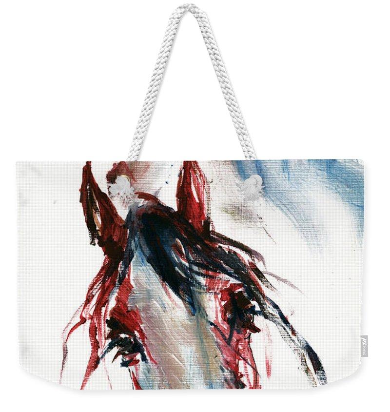 Horse Weekender Tote Bag featuring the painting Horse Portrait by Angel Ciesniarska