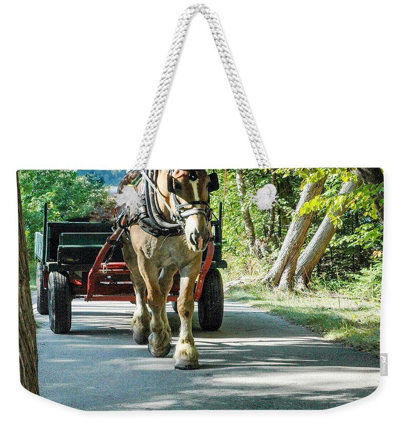 Horse Powered Mackinac Island Weekender Tote Bag featuring the photograph Horse Powered Mackinac Island by LeeAnn McLaneGoetz McLaneGoetzStudioLLCcom