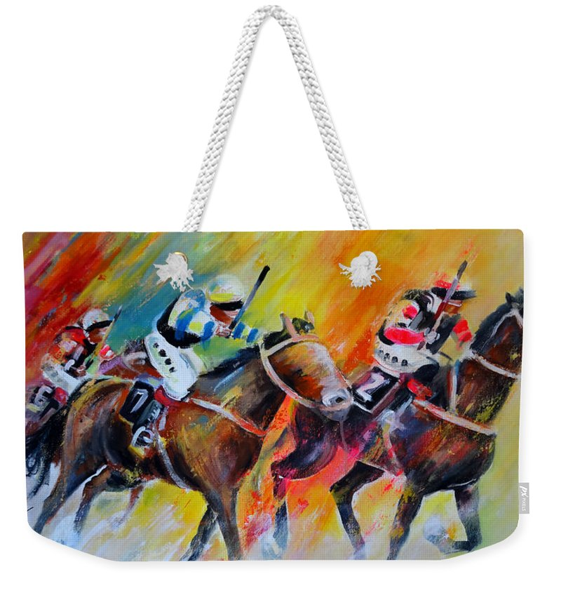 Sports Weekender Tote Bag featuring the painting Horse Racing 05 by Miki De Goodaboom