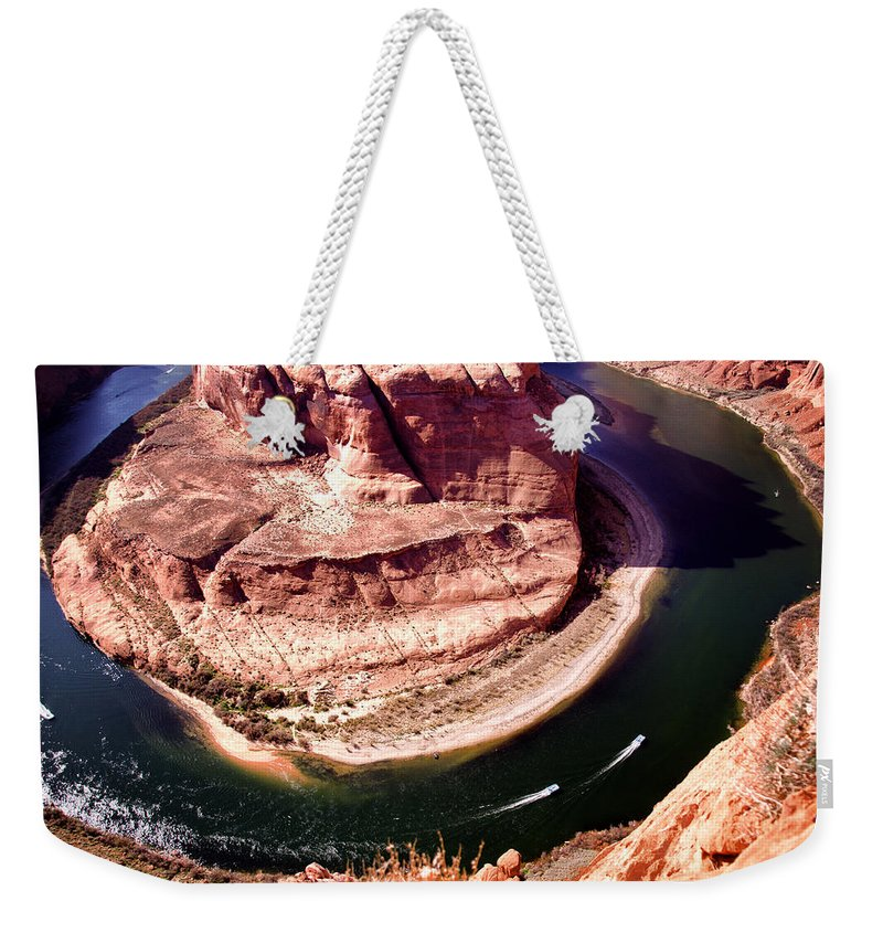 Horseshoe Bend Weekender Tote Bag featuring the photograph Horseshoe Bend Boat Race - Page Arizona by Jon Berghoff