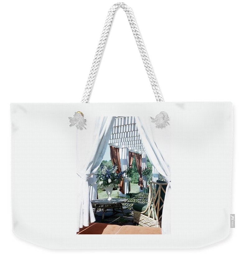 Exterior Weekender Tote Bag featuring the photograph Horst's Patio In Long Island by Horst P. Horst