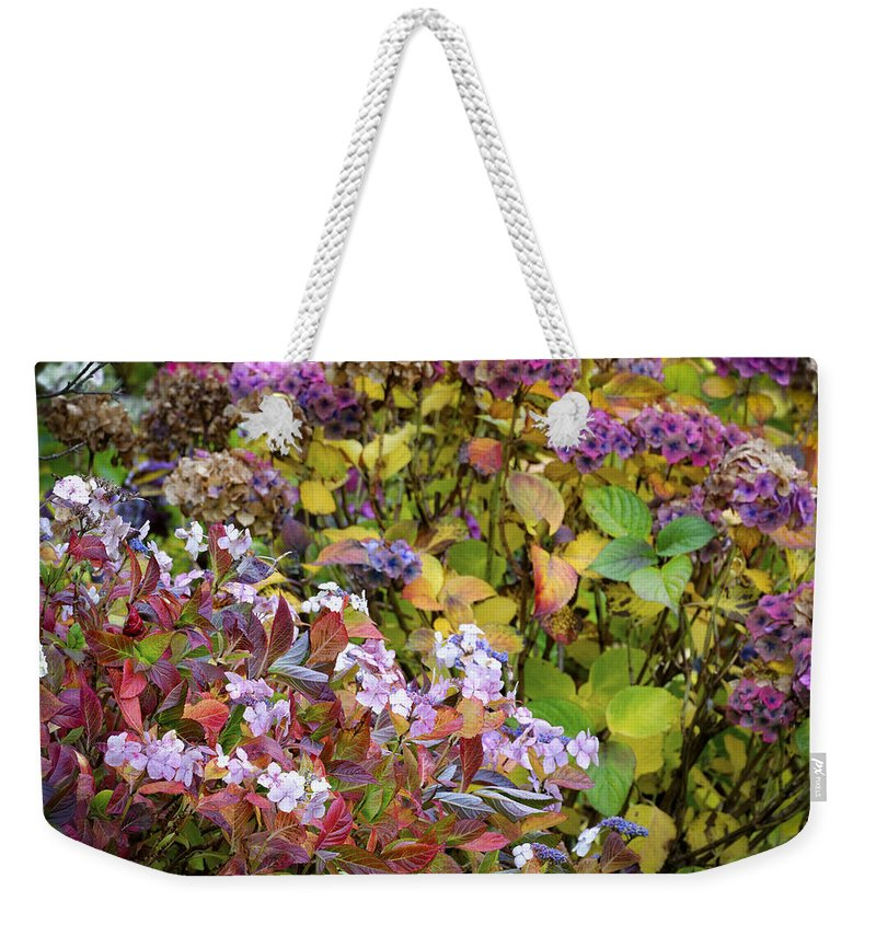 Hortensia Weekender Tote Bag featuring the photograph Hortensia Flowers by Dutourdumonde Photography