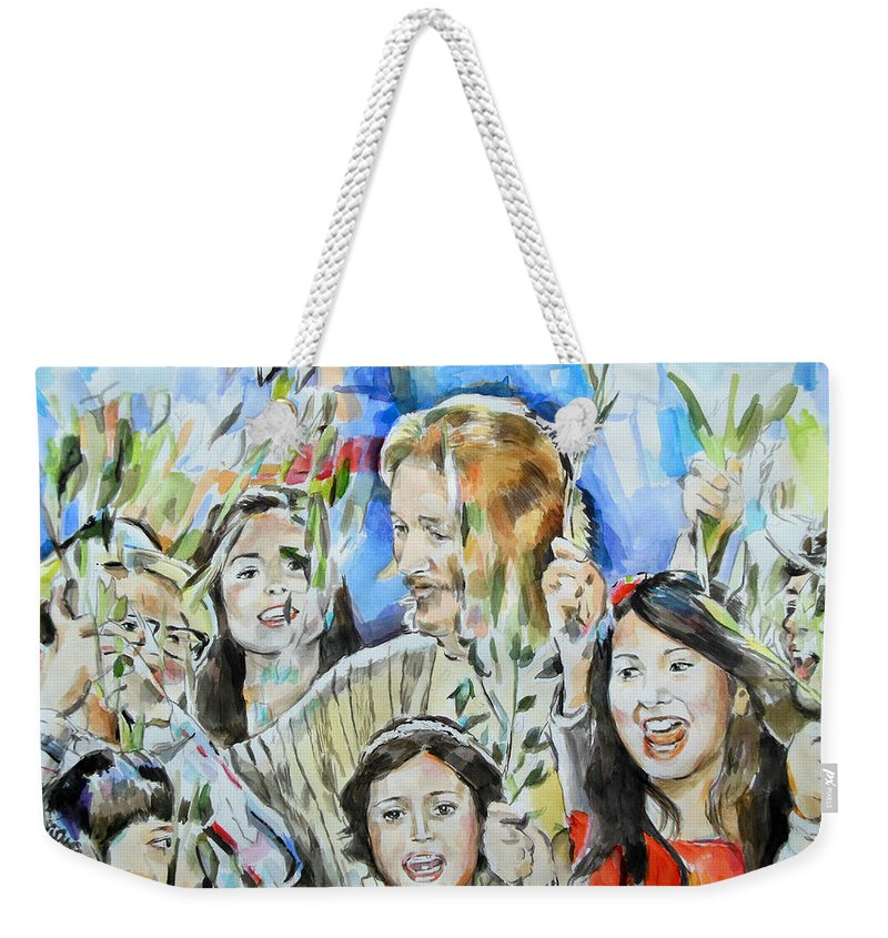 Jesus Christ Superstar Weekender Tote Bag featuring the painting Hosanna Rome by Lucia Hoogervorst