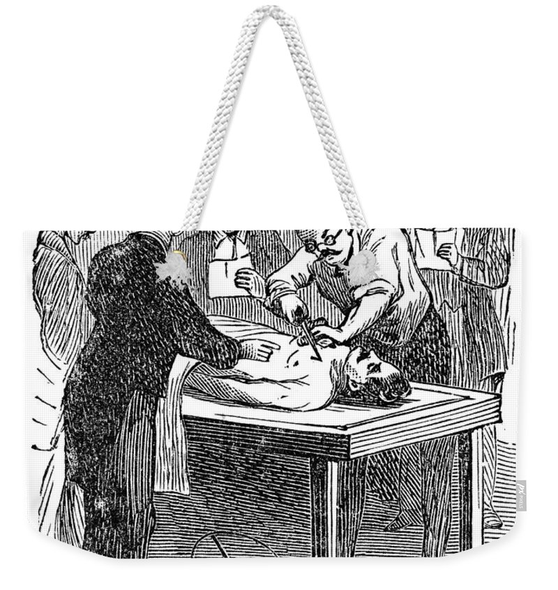 19th Century Weekender Tote Bag featuring the photograph Hospital: Dissection by Granger