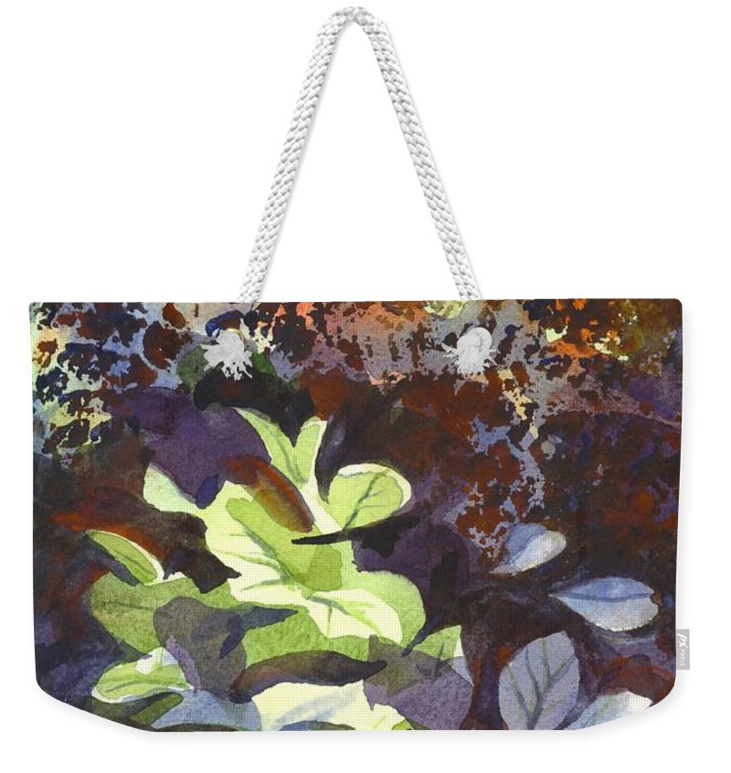 Hostas In The Forest Weekender Tote Bag featuring the painting Hostas In The Forest by Kip DeVore