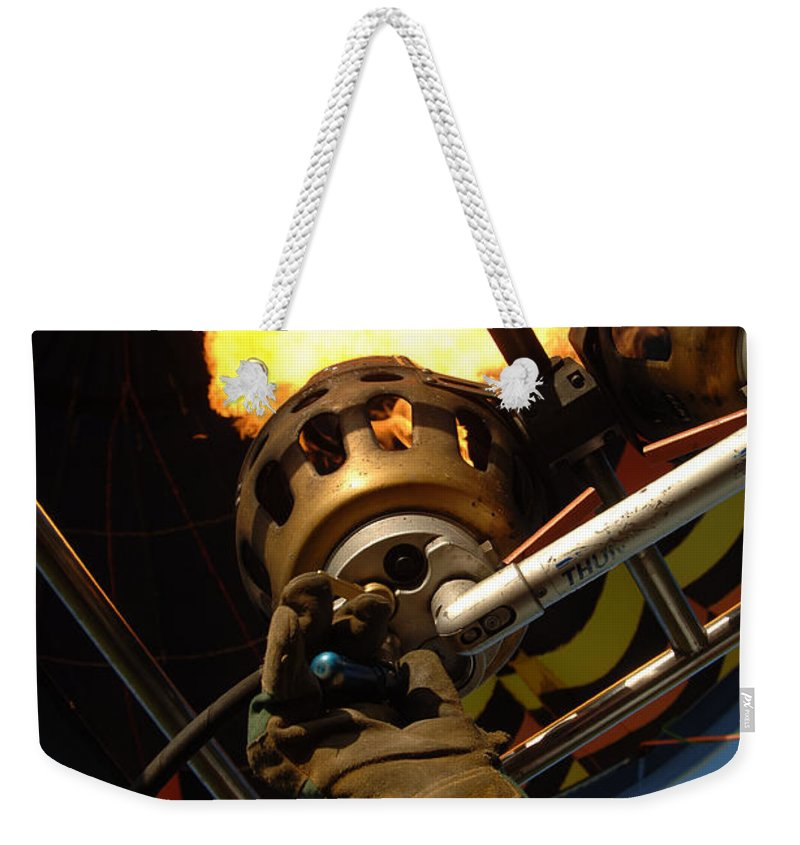 Air Weekender Tote Bag featuring the photograph Hot Air Balloon Burner by Mark Llewellyn