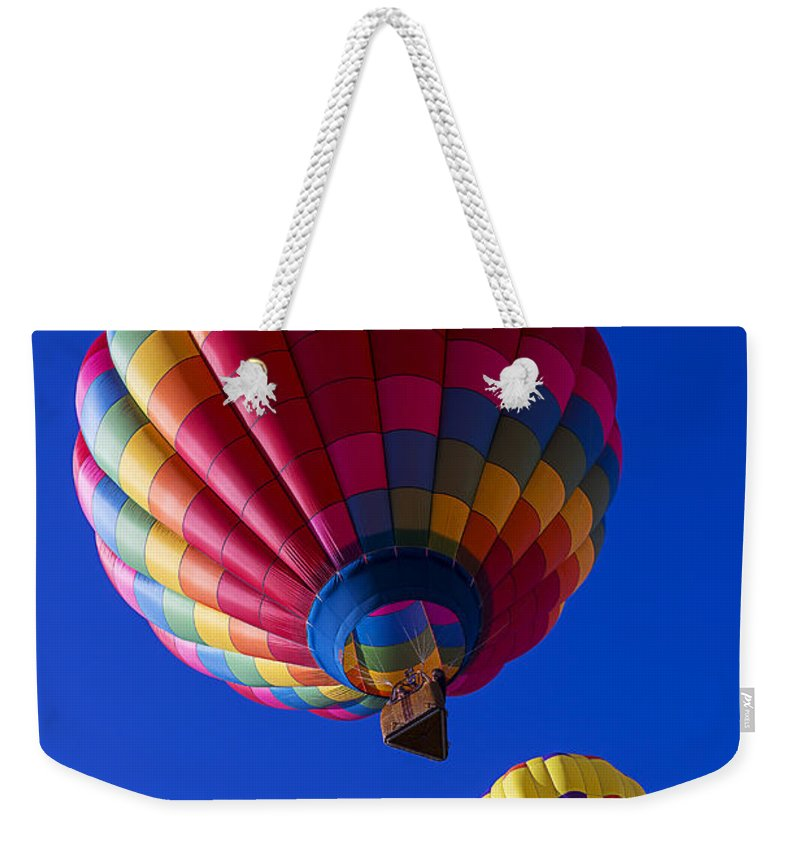 Hot Air Balloons Weekender Tote Bag featuring the photograph Hot Air Ballooning Together by Garry Gay