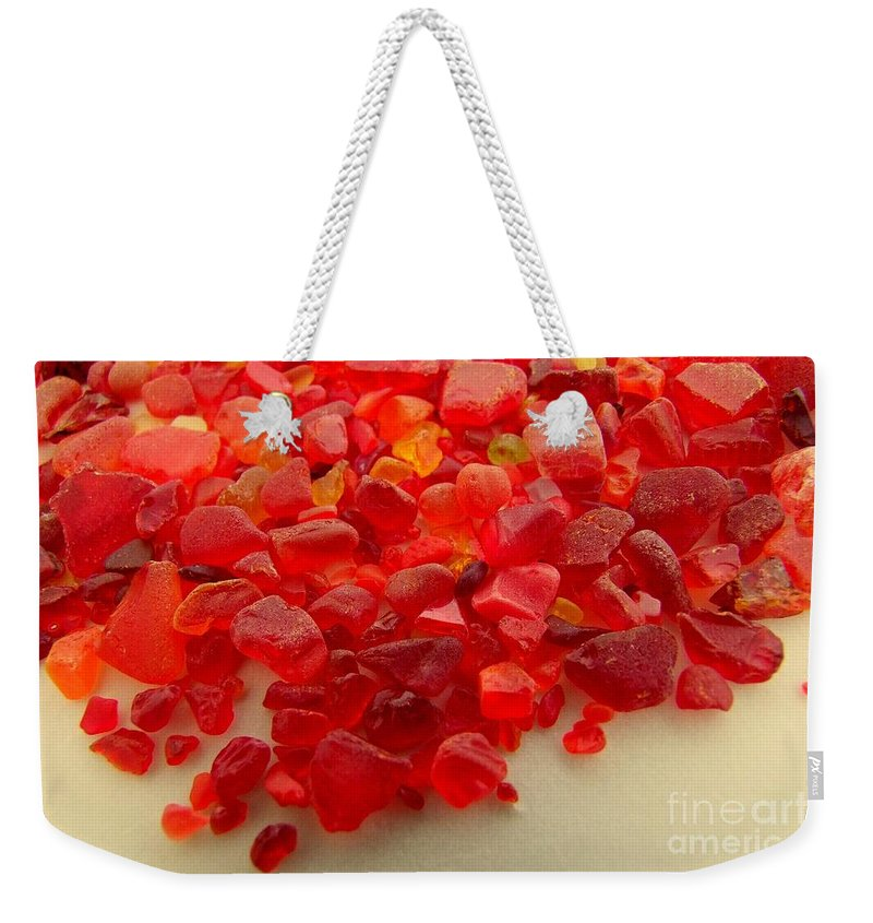 Orange Weekender Tote Bag featuring the photograph Hot Orange Beach Glass by Mary Deal