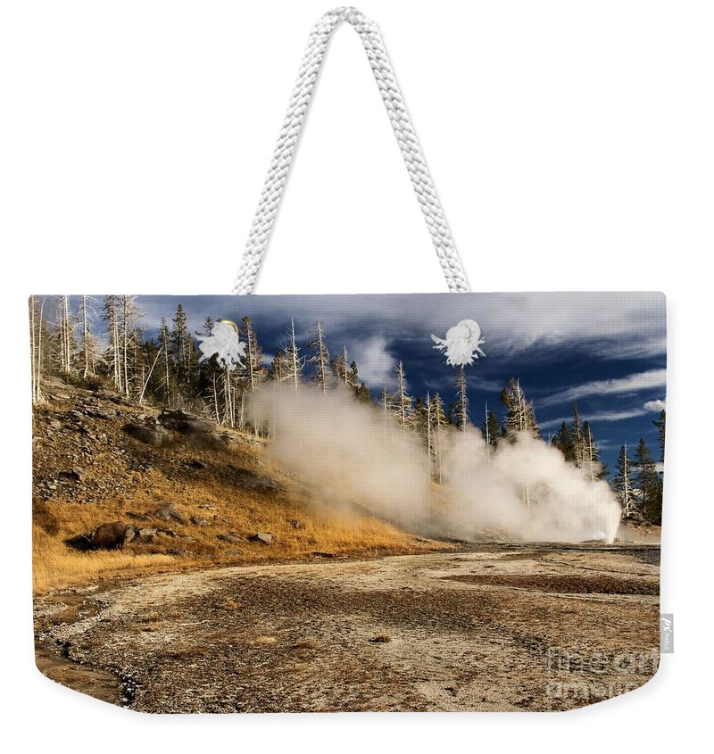 Vent Geyser Weekender Tote Bag featuring the photograph Hot Spot by Adam Jewell