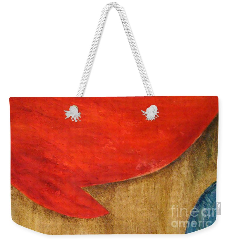 Abstract Weekender Tote Bag featuring the painting Hot Spot by Silvana Abel