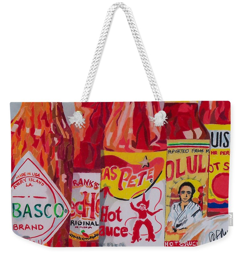 Hot Weekender Tote Bag featuring the painting Hot Stuff by Steve Teets