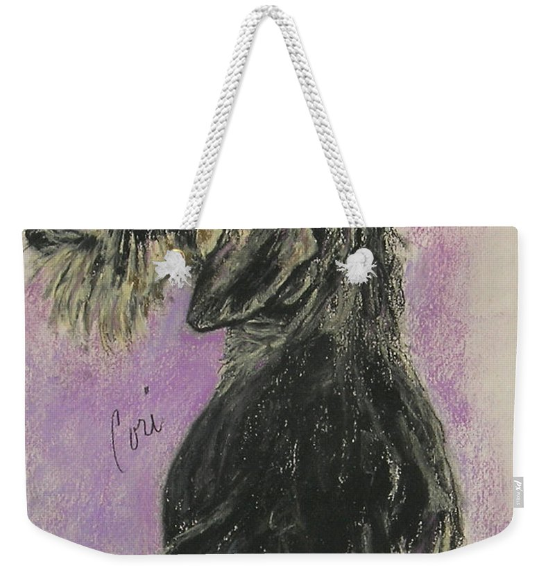 Dachshund Weekender Tote Bag featuring the drawing Hot Wired by Cori Solomon
