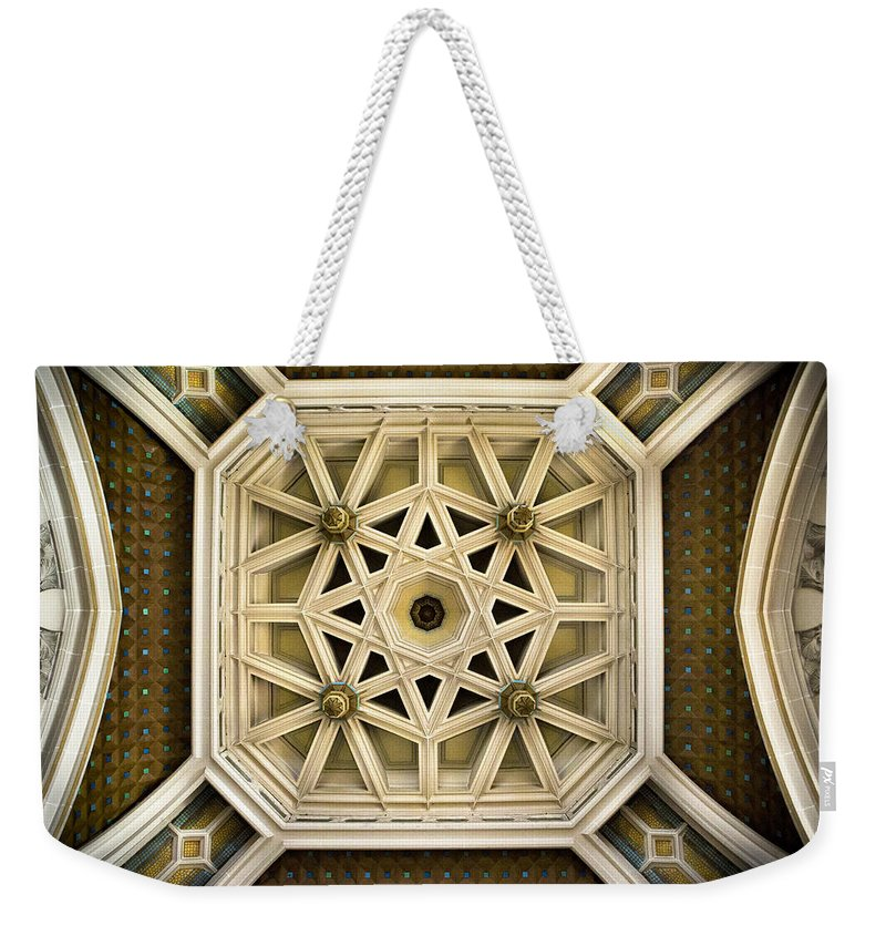 A Ceiling Area In The Hotel De Ville Weekender Tote Bag featuring the photograph Hotel De Ville Calais by David Hare