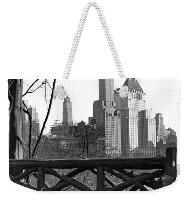 1928 Weekender Tote Bag featuring the photograph Hotels Seen From Central Park by Underwood Archives